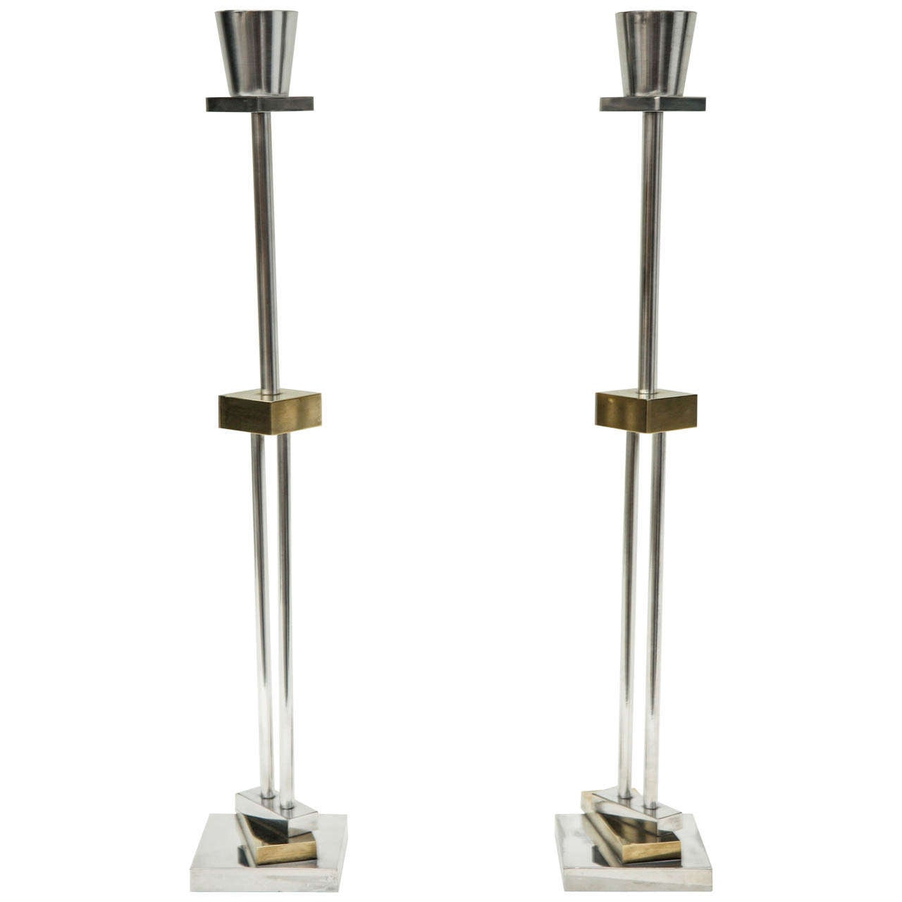 Pair of Silver Plate & Brass Candlesticks by Ettore Sottsass for Swid Powell