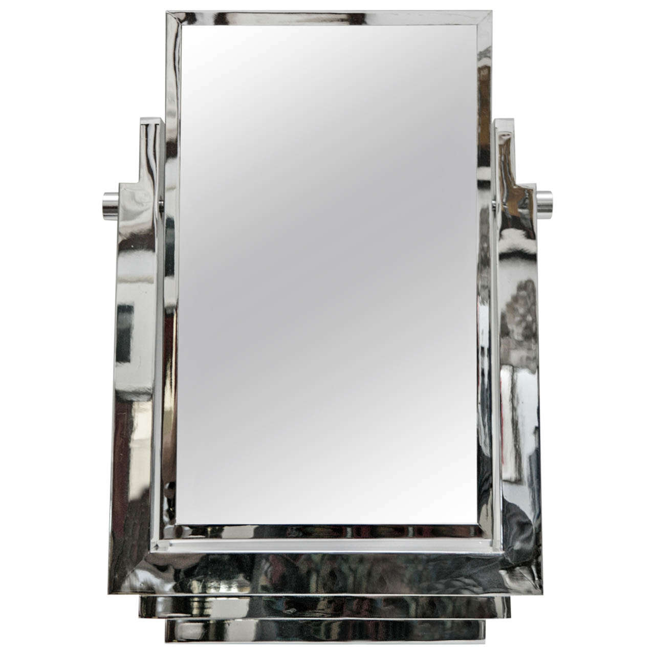 Polished Chrome Tabletop Vanity Mirror In The Style Of La Maison Desny For  Sale