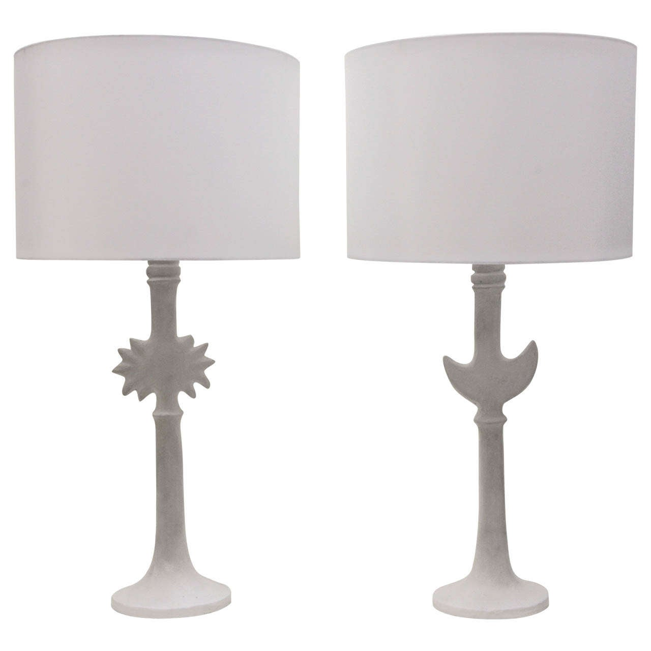 Pair Of Sirmos Sun U0026 Moon Table Lamps After Diego Giacometti 1