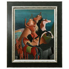 Modernist Painting by Mona Kucker, Circa 1940s