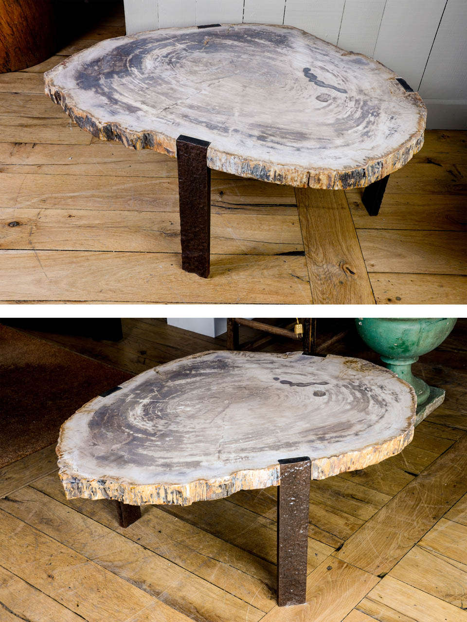 DSC5814 2 Petrified Wood Coffee Table Oval Coffee Table With Petrified Wood Top At Stdibs