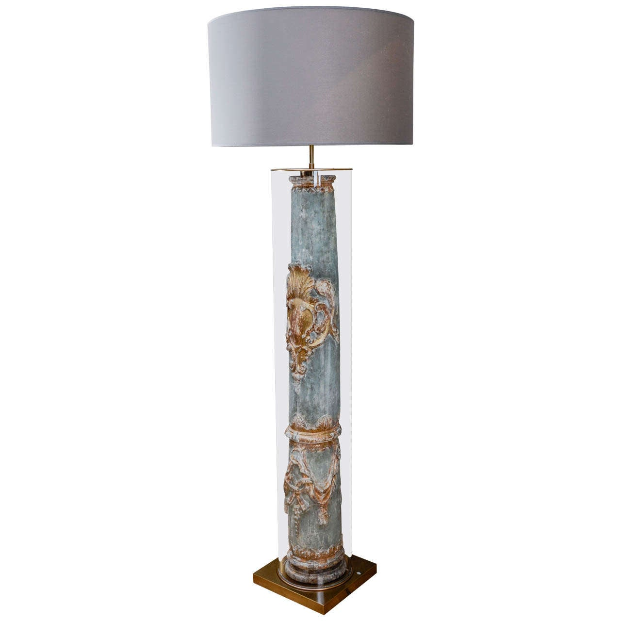 Large glass tube floor lamp with 18th century carved wood for Floor lamp with tube light