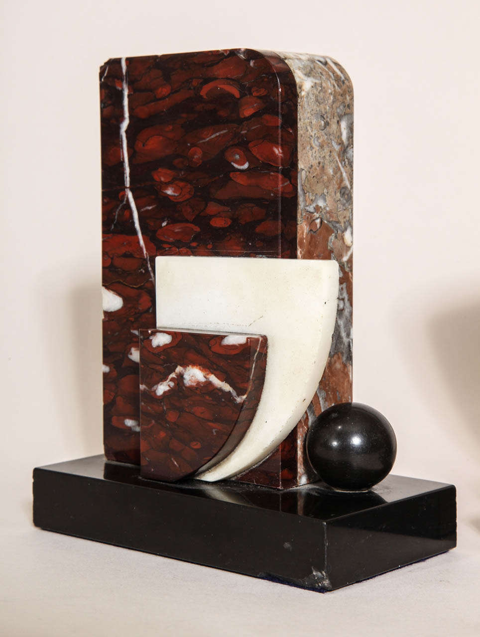 20th Century French Art Deco Marble and Patinated Metal Bookends For Sale