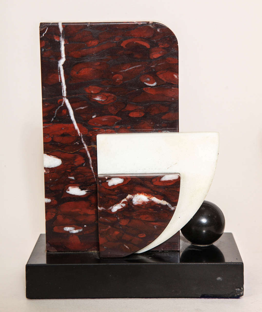 French Art Deco Marble and Patinated Metal Bookends For Sale 1