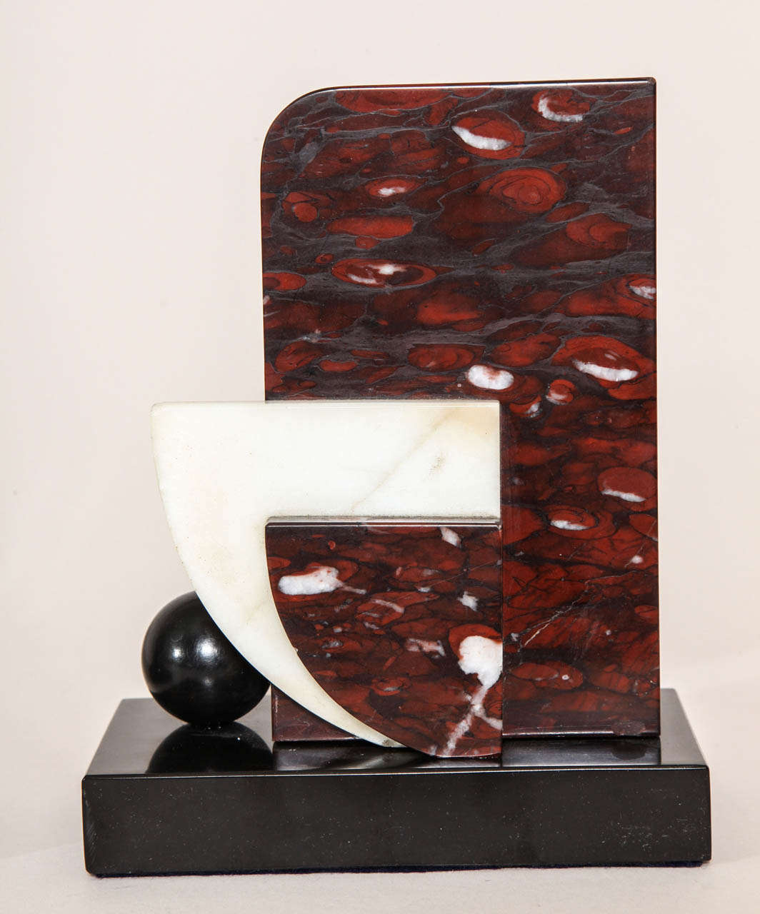 French Art Deco Marble and Patinated Metal Bookends For Sale 2