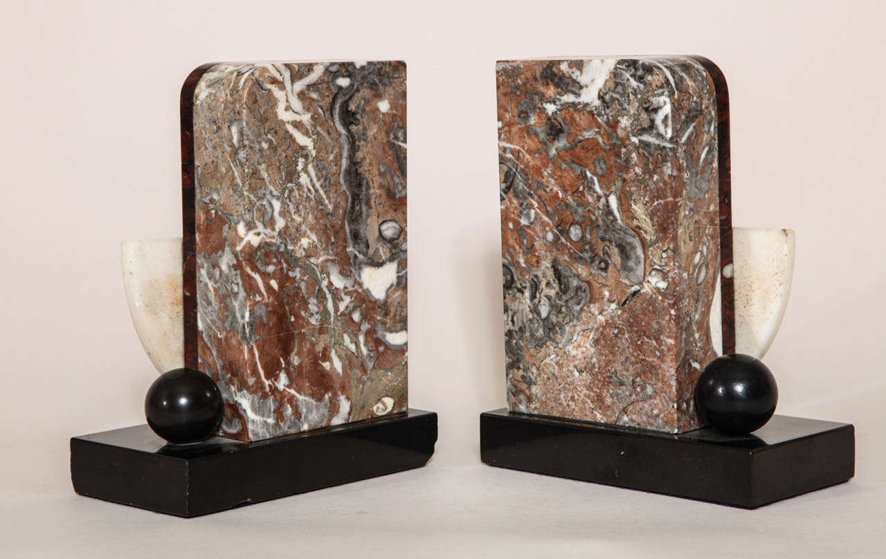French Art Deco Marble and Patinated Metal Bookends For Sale 3