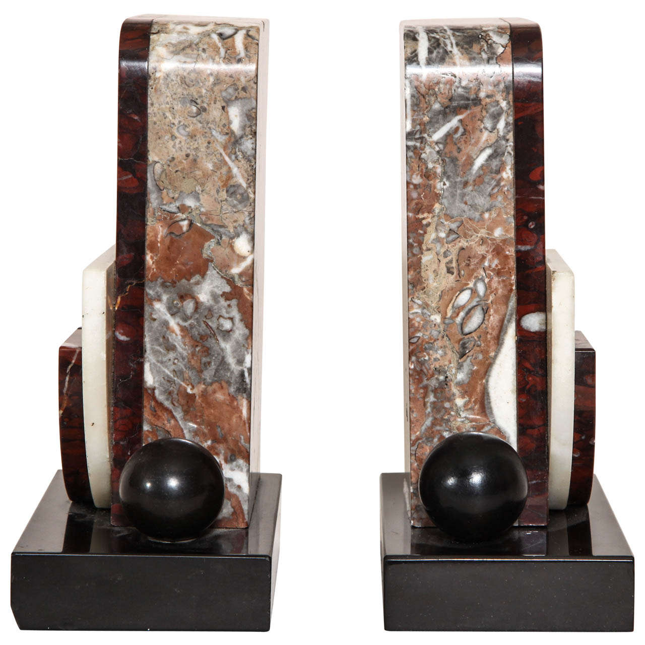 French Art Deco Marble and Patinated Metal Bookends For Sale