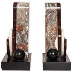 French Art Deco Marble and Patinated Metal Bookends