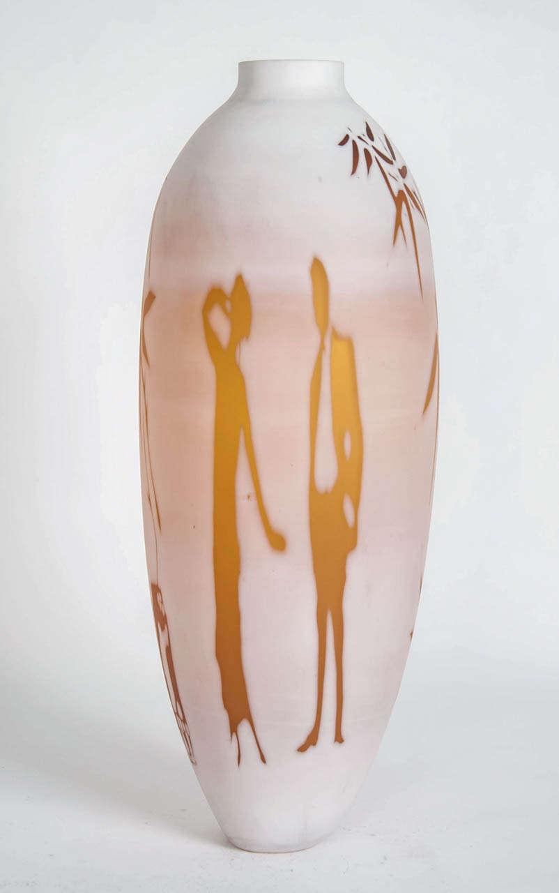 British Dorchester Cameo Vase, a glass artwork in alabaster & gold by Sarah Wiberley For Sale