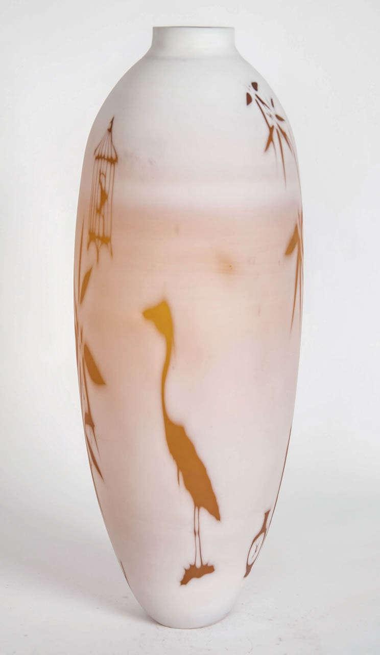 Dorchester Cameo Vase, a glass artwork in alabaster & gold by Sarah Wiberley For Sale 1