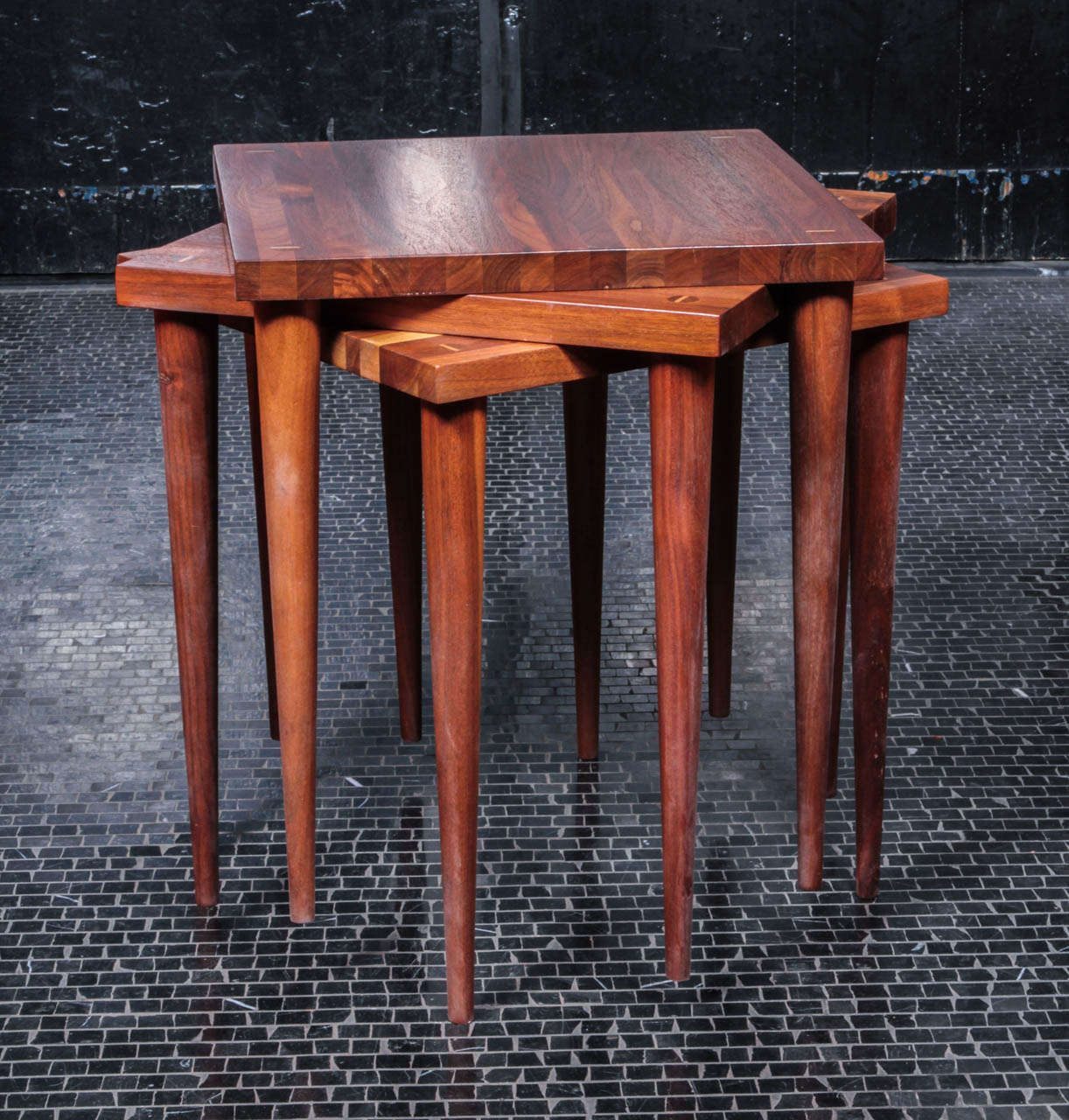 Genial Mid Century Modern Set Of 3 Solid Vintage Walnut Stacking Tables By Mel  Smilow For
