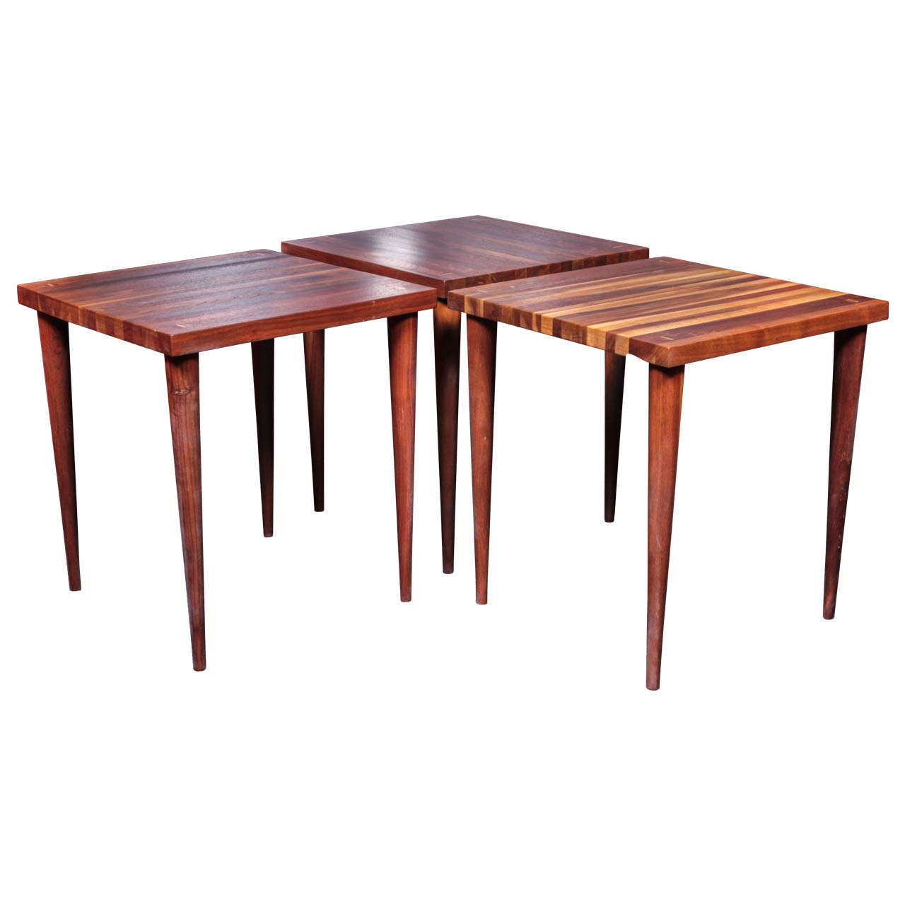 Set Of 3 Solid Vintage Walnut Stacking Tables By Mel Smilow For Sale