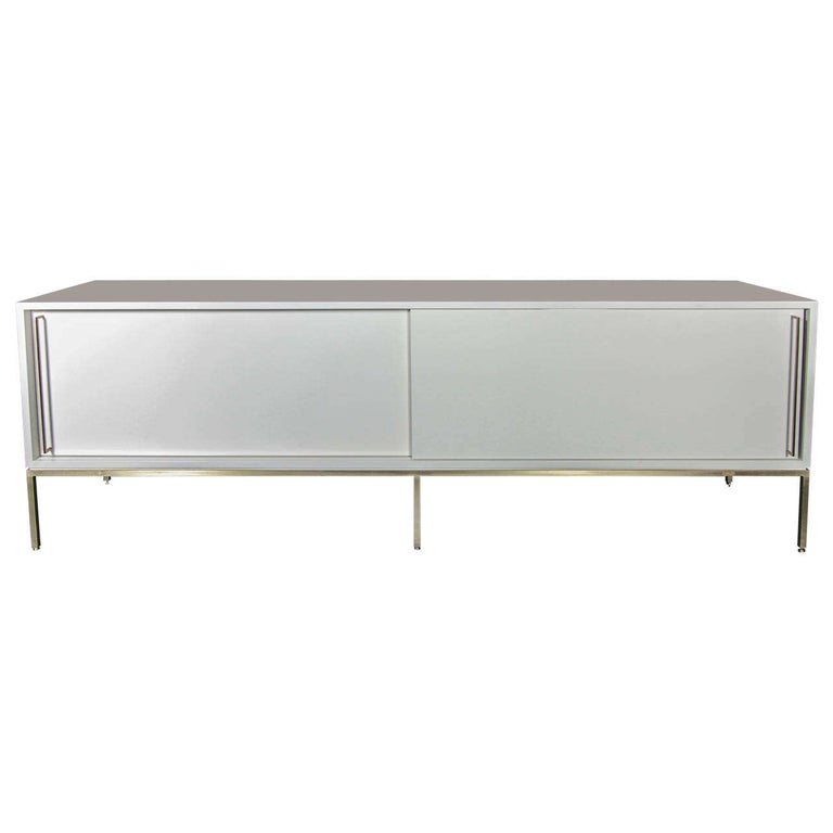 re: 379 credenza in soft chamois on satin brass frame For Sale