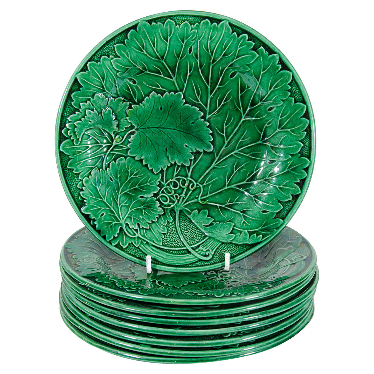 Set Of Eight Antique Green Majolica Dishes At 1stdibs