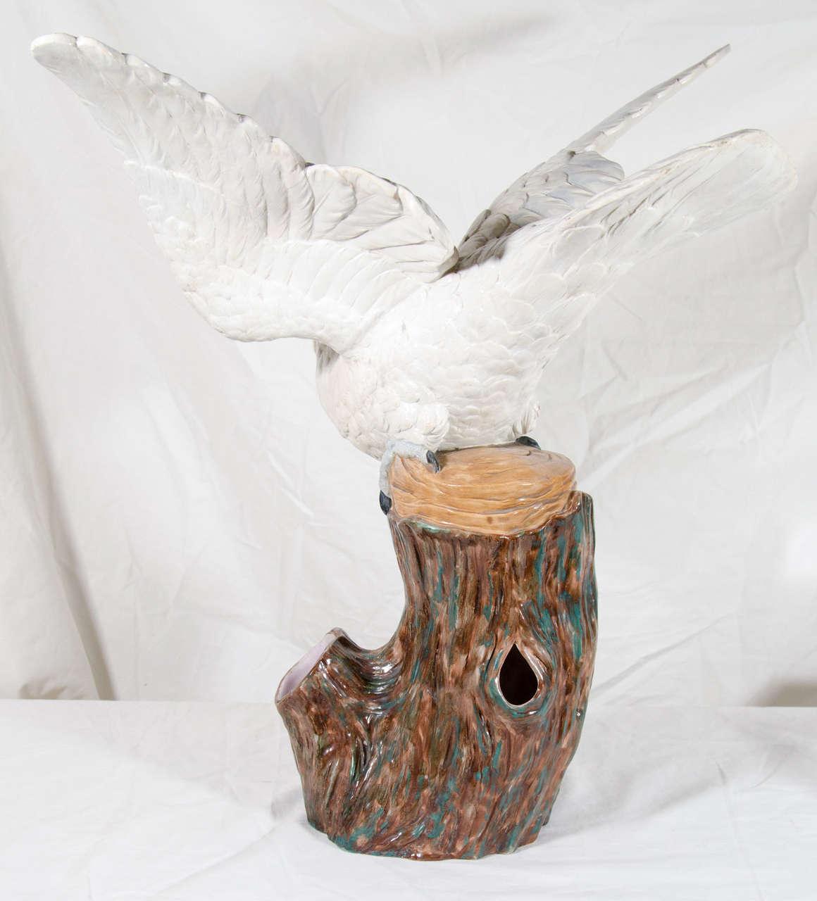 Large Antique Porcelain Cockatoo Sculpture Royal Worcester Made circa 1870 For Sale 2