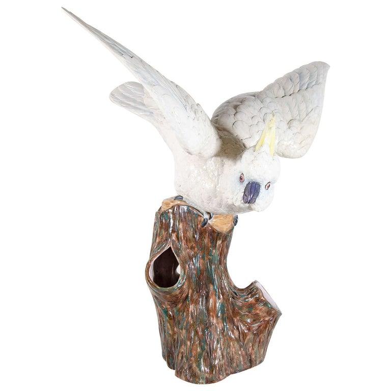 Large Antique Porcelain Cockatoo Sculpture Royal Worcester Made circa 1870 For Sale