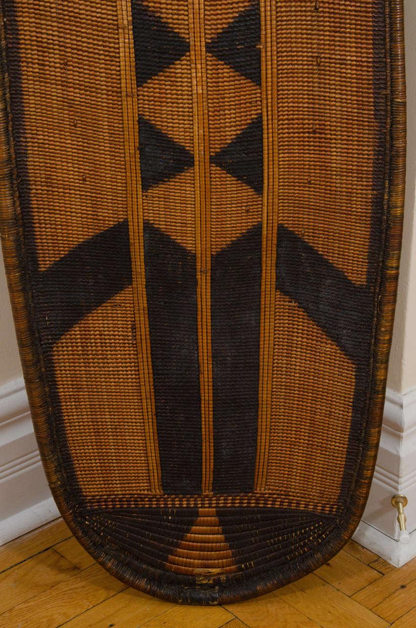 Early 20th Century African Poto Tribal Wicker Shield, Congo 6