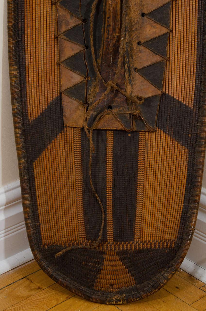 Early 20th Century African Poto Tribal Wicker Shield, Congo 9