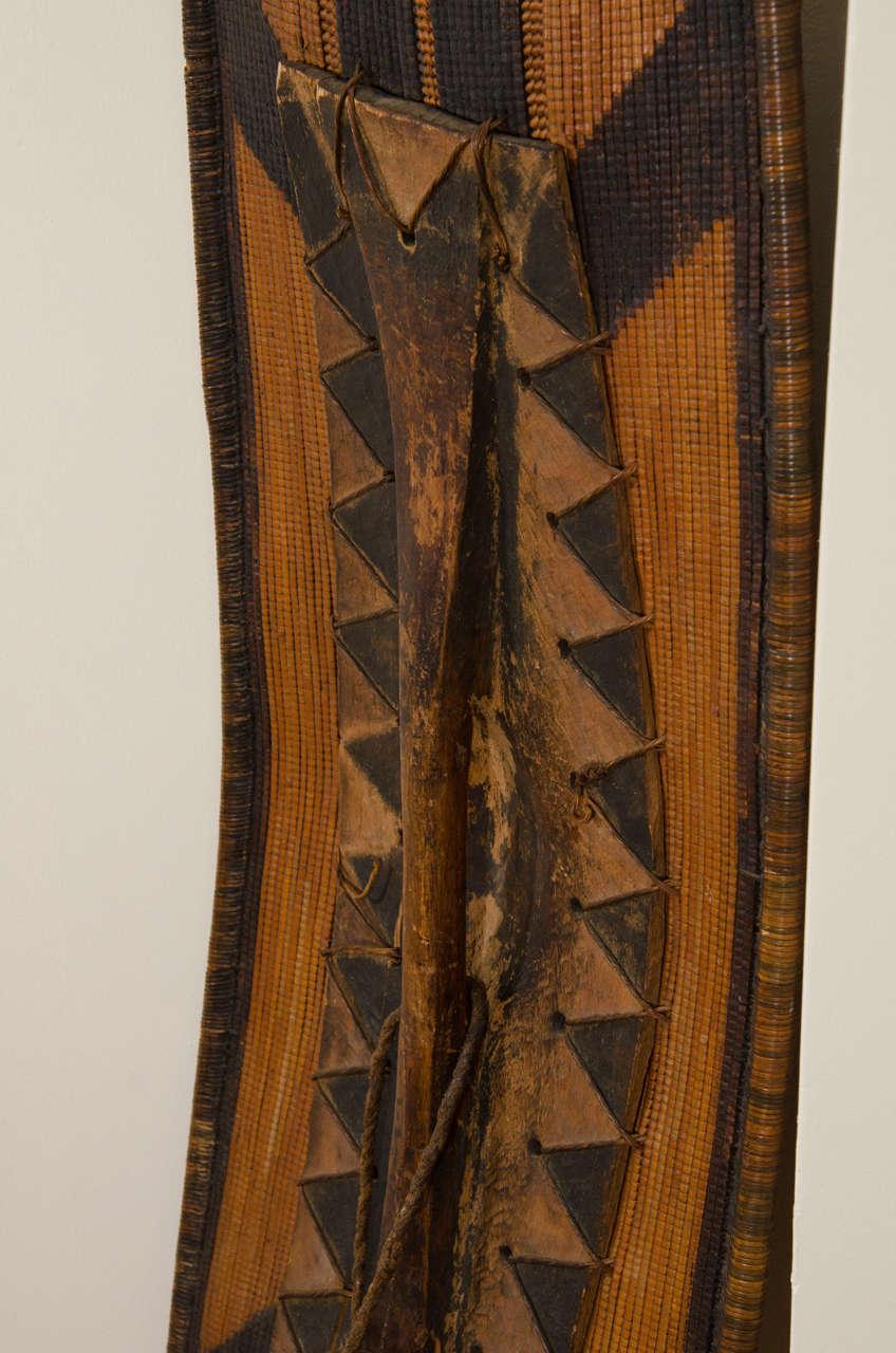 Early 20th Century African Poto Tribal Wicker Shield, Congo 10