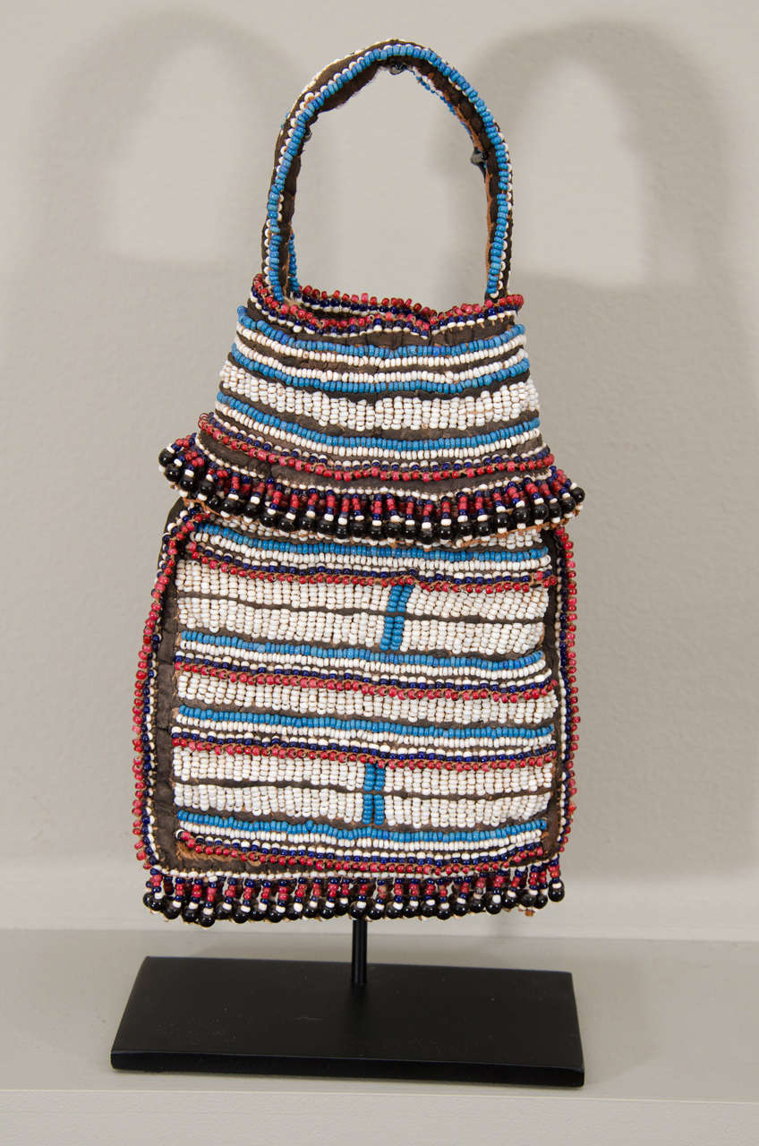 19th Century Tribal Beaded Tobacco Bag, South Africa 2