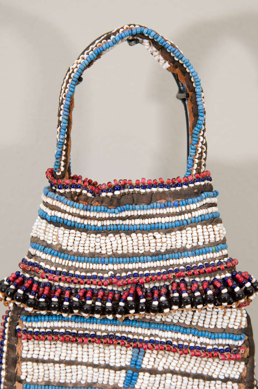 19th Century Tribal Beaded Tobacco Bag, South Africa 4