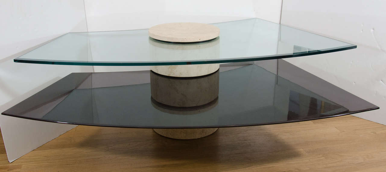 Mid-Century Modern Adjustable Travertine, Wood and Glass Coffee Table For Sale