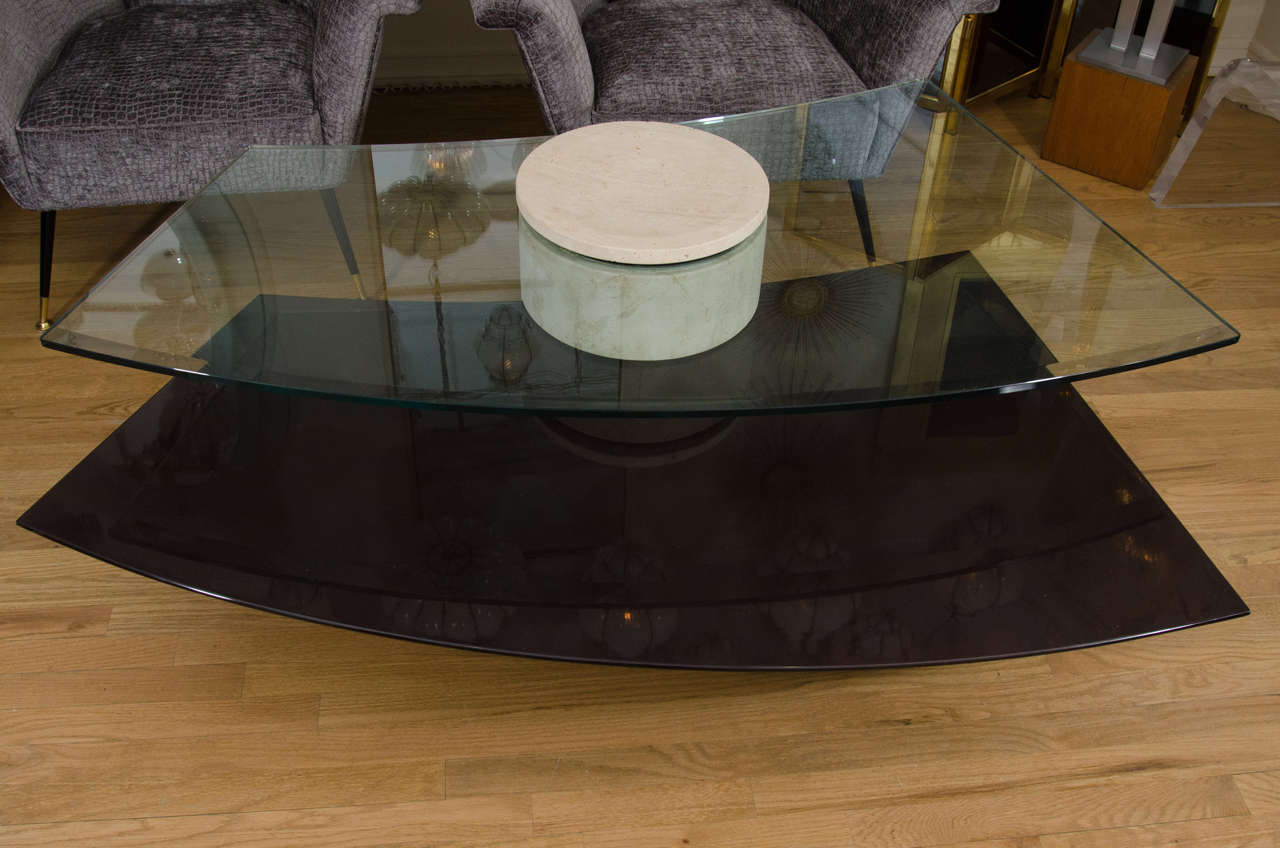Adjustable Travertine, Wood and Glass Coffee Table In Good Condition For Sale In New York, NY