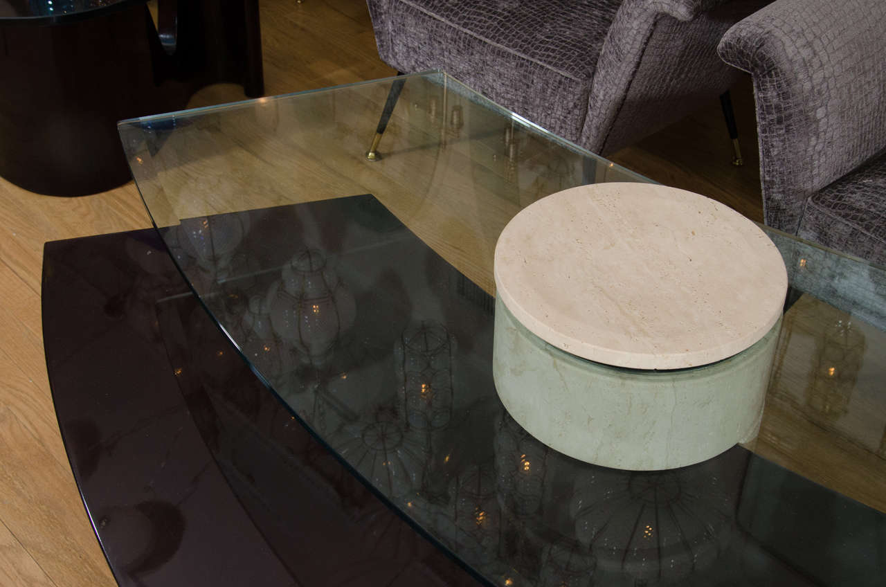 Adjustable Travertine, Wood and Glass Coffee Table For Sale 1
