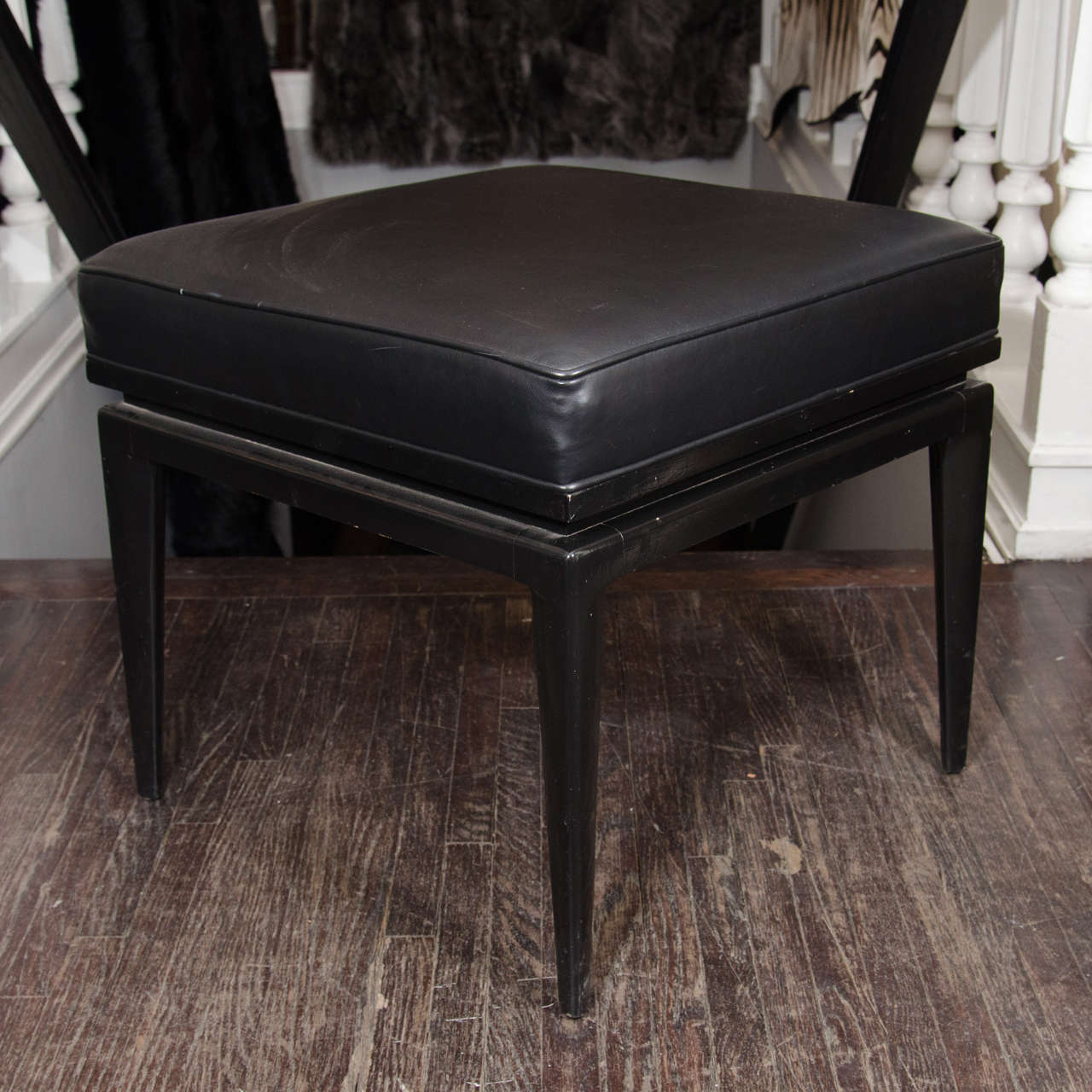 Italian 1950s Ebonized Bench With Black Leather Upholstery At 1stdibs