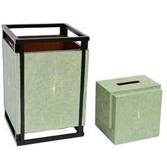 Shagreen R & Y Augousti Waste Basket & Kleenex Box
