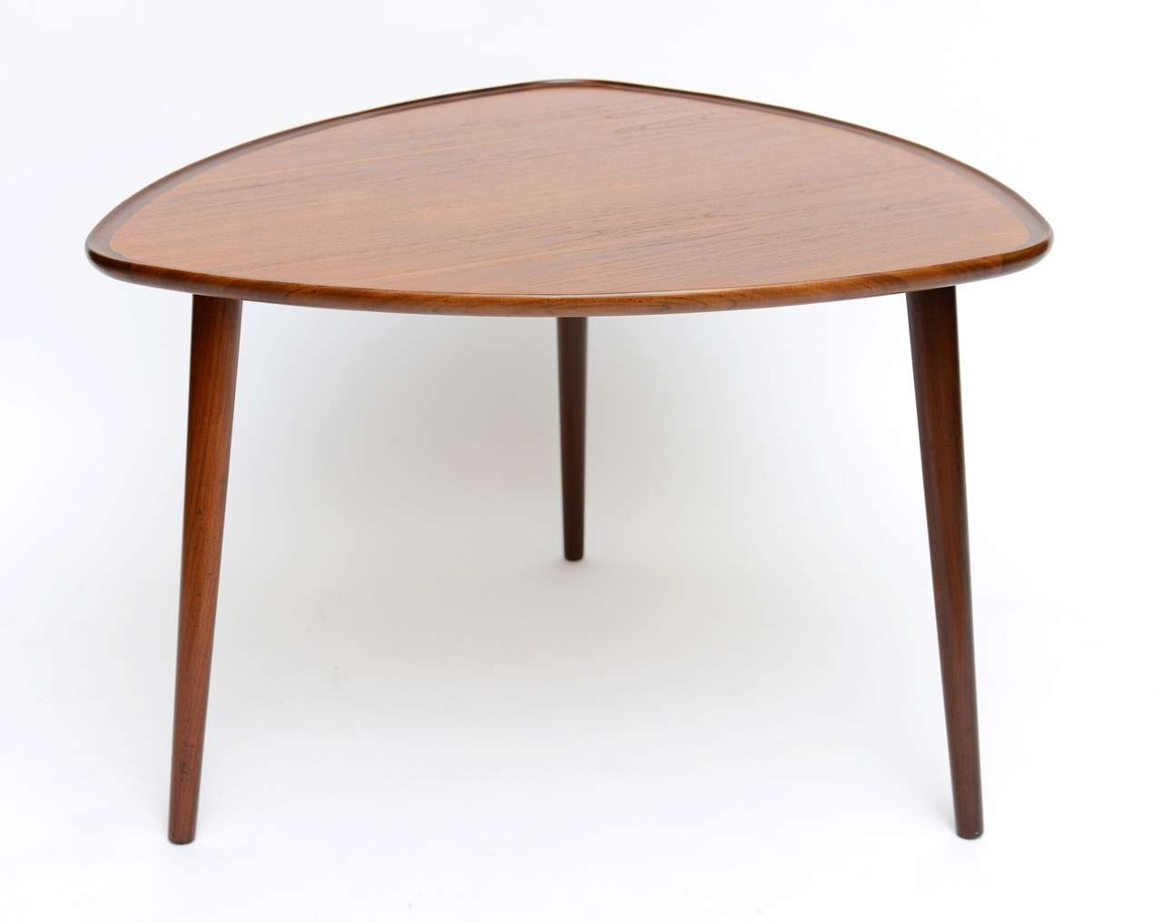 exceptional danish teak and rosewood triangular table at stdibs - exceptional danish teak  rosewood triangular table