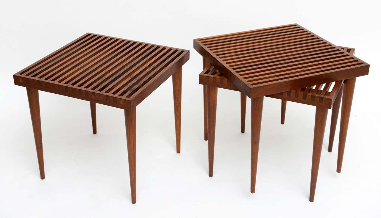 Stackable Nesting Tables ~ Fine danish teak slat top nesting stacking tables at stdibs