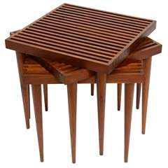 Fine Danish Teak Slat Top Nesting Stacking Tables