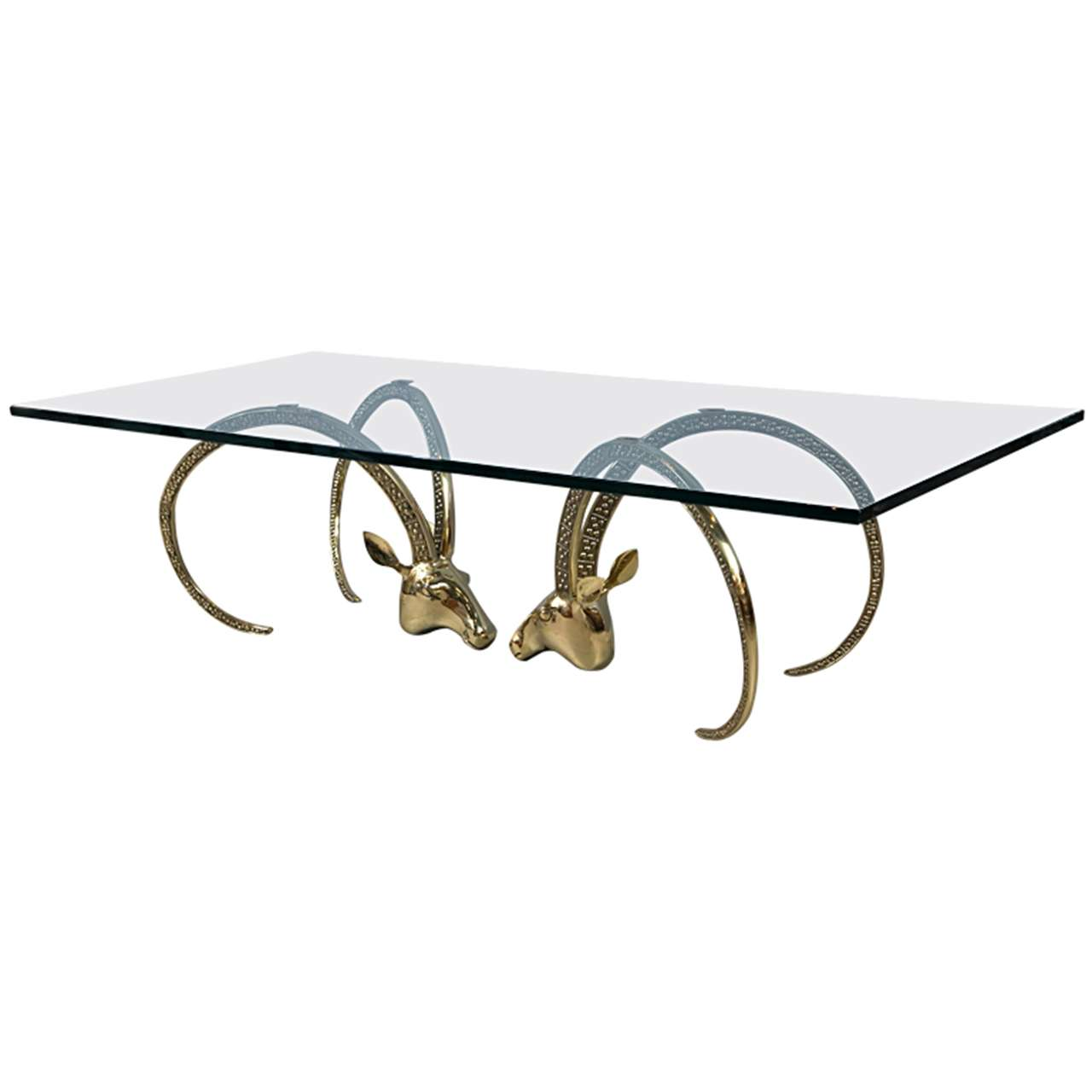 Rams Head Brass And Glass Coffee Table At 1stdibs