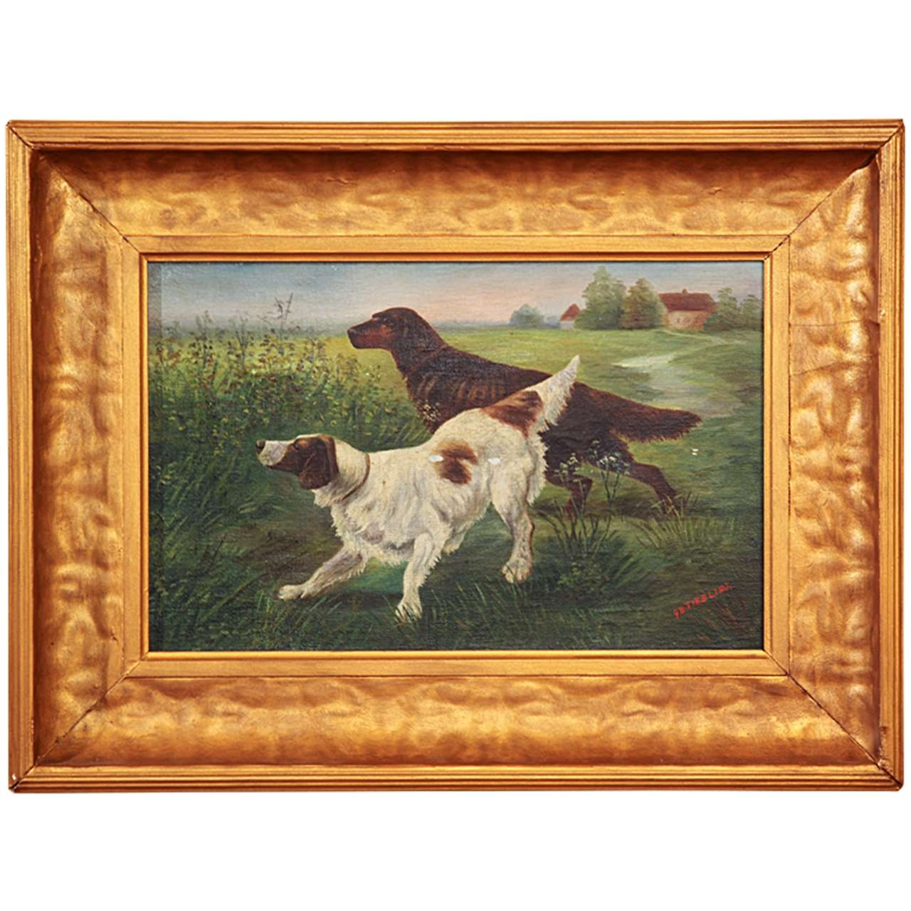 American Oil Painting Of Bird Dogs At 1stdibs
