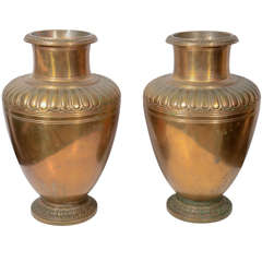 20th Century Pair of Bronze Tiffany Urns