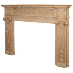 English Sienna Carved Marble Mantel from the Vanderbilt Mansion