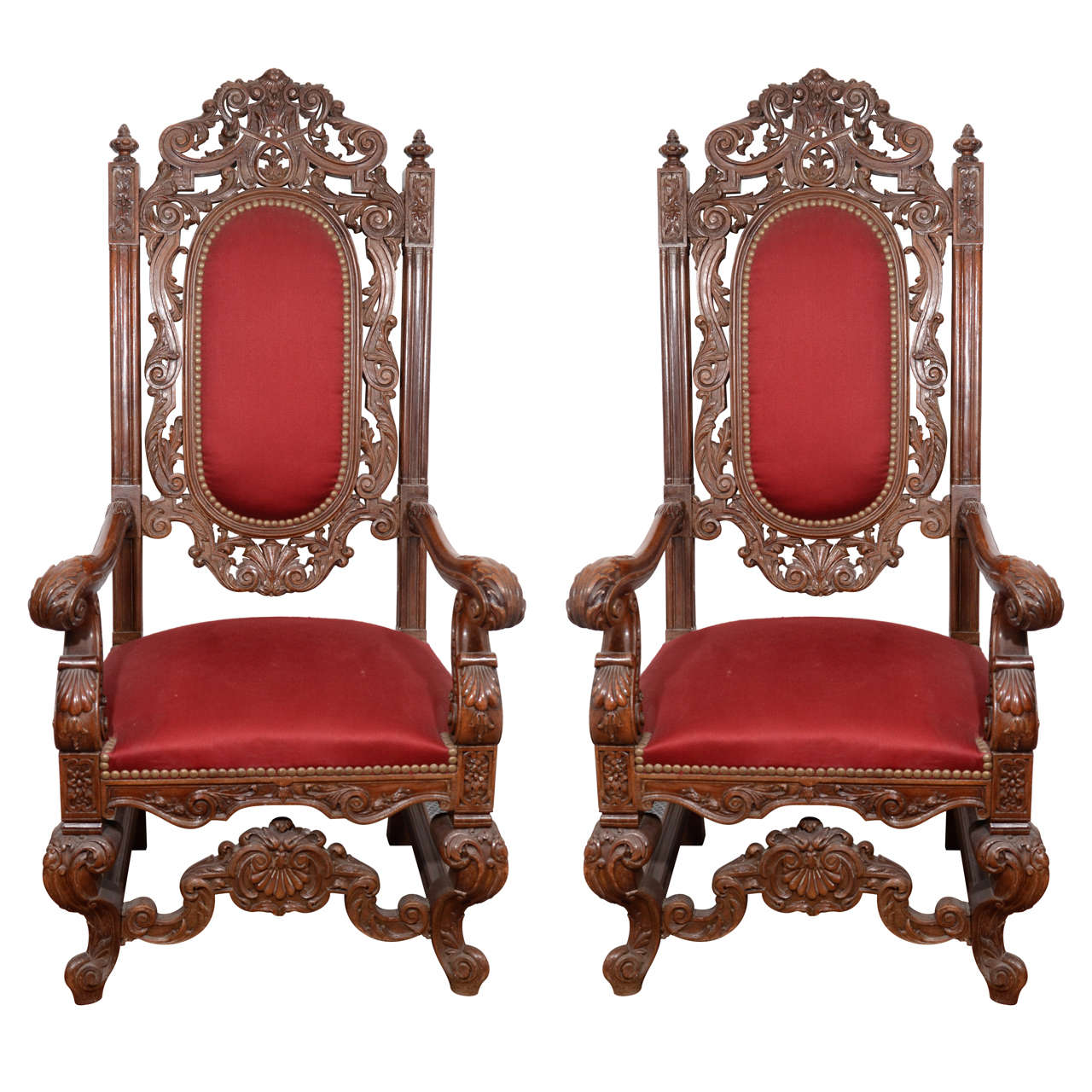 Late 19th Century Pair of Italian Style Ornately Carved Throne Chairs For  Sale - Late 19th Century Pair Of Italian Style Ornately Carved Throne
