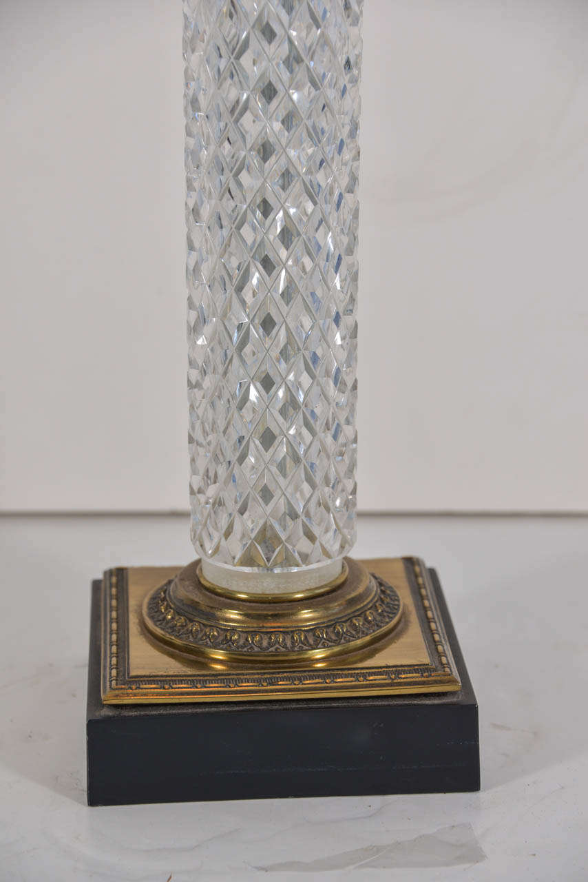 1960s Crystal Cut Glass Cylinder Lamp At 1stdibs