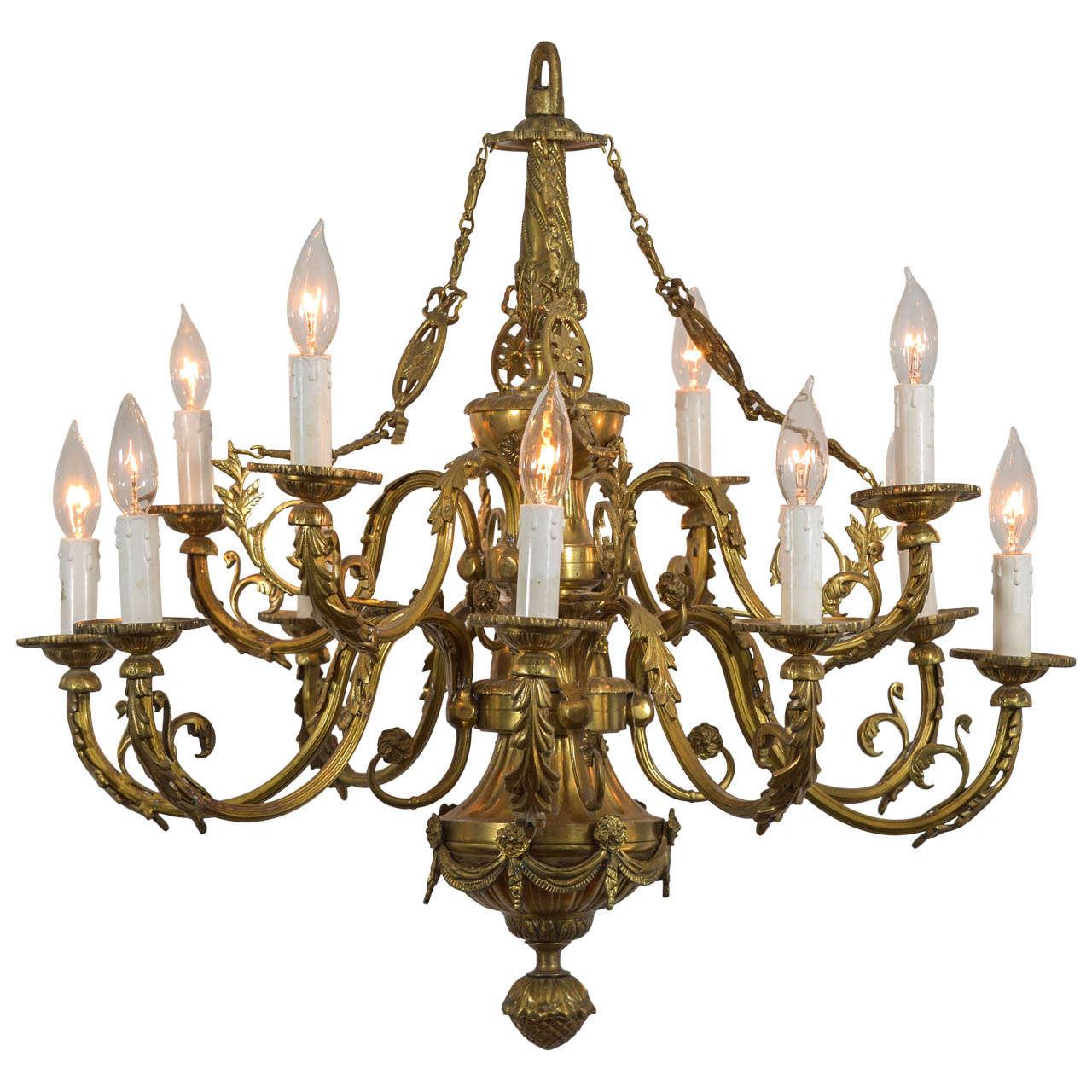 Louie xvi style cast bronze 12 light chandelier at 1stdibs louie xvi style cast bronze 12 light chandelier for sale arubaitofo Choice Image