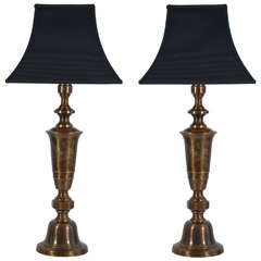 Bronze Finish Asian Candlesticks as Table Lamps