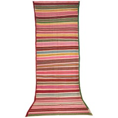 Vintage Colorful Striped Tunisian Flat-Weave Rug