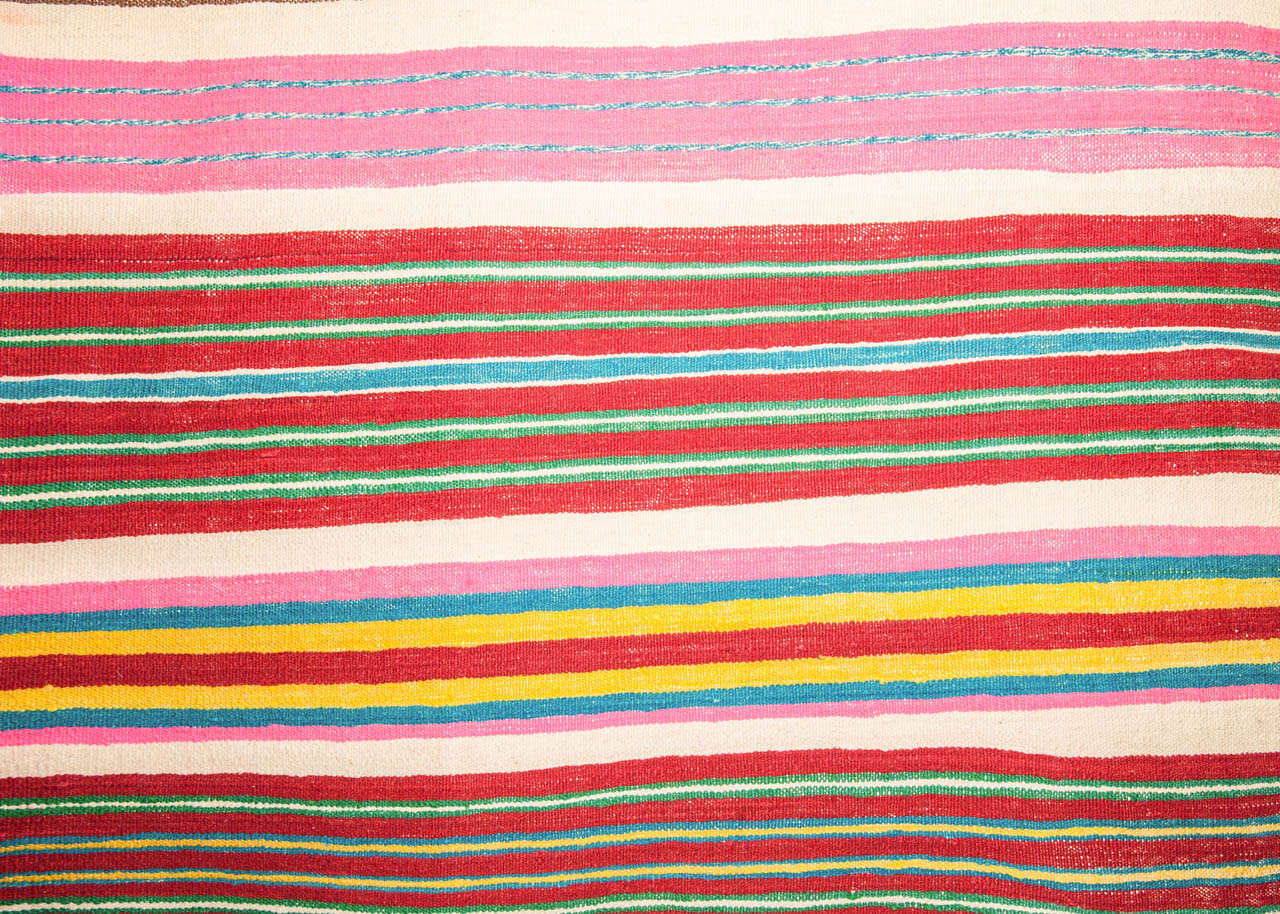 Tribal Vintage Colorful Striped Tunisian Flat-Weave Rug For Sale