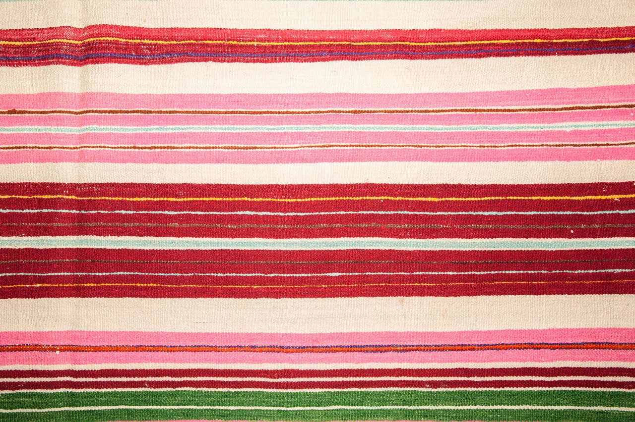 Hand-Woven Vintage Colorful Striped Tunisian Flat-Weave Rug For Sale