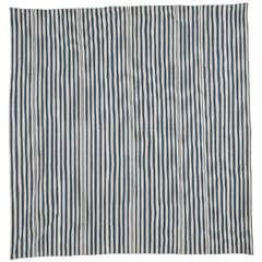 Blue and Ivory Kurdish Cotton Flat-Weave