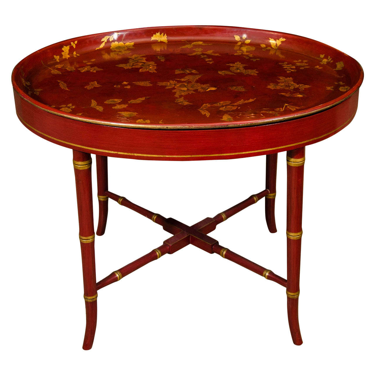 English Papier Mache Tray Cocktail Table At 1stdibs