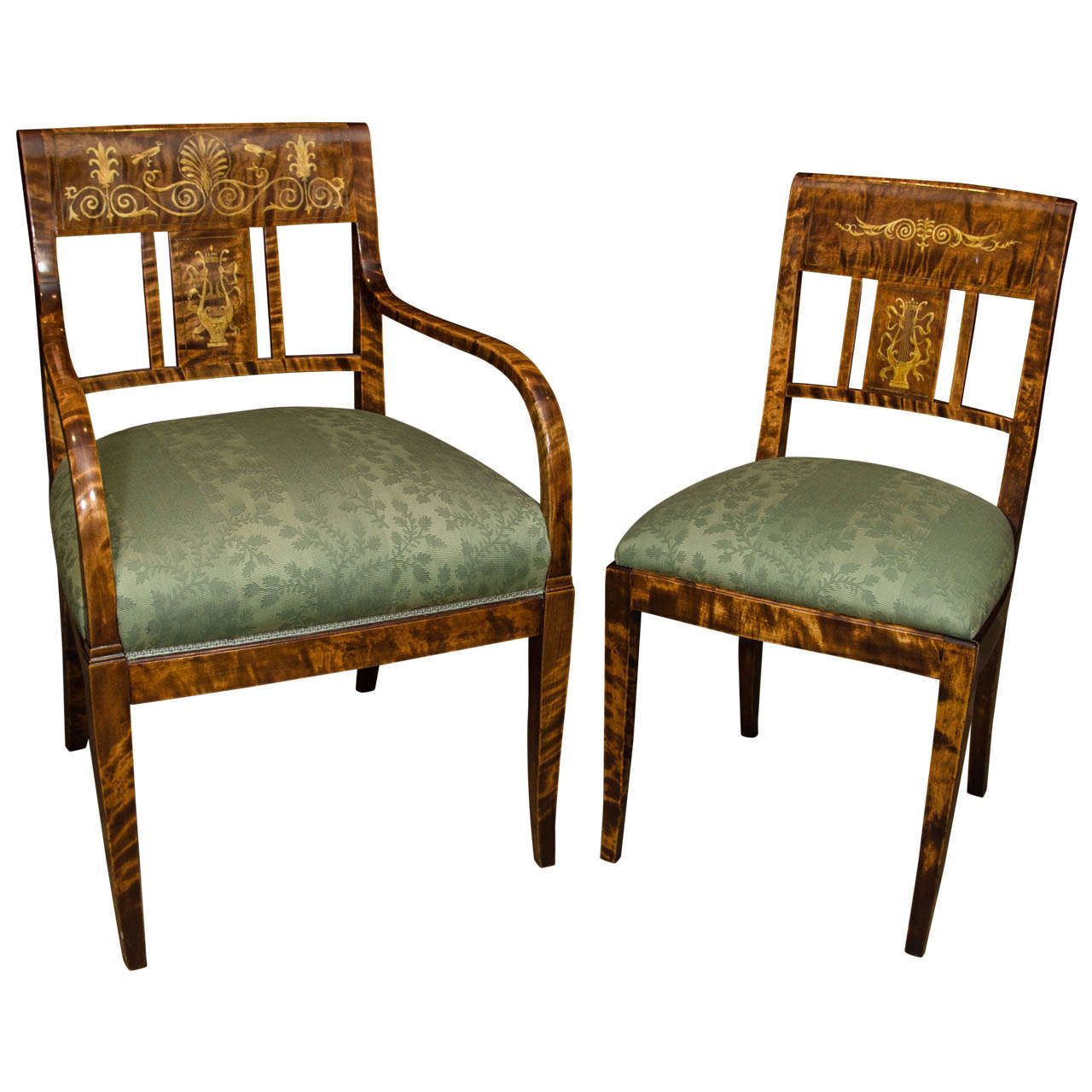 Unusual set of six french charles dining chairs at stdibs
