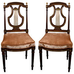 Pair of French Louis XVI Lyre-Back Side Chairs