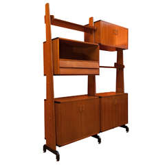 1960s Adjustable Wooden Italian Bookcase