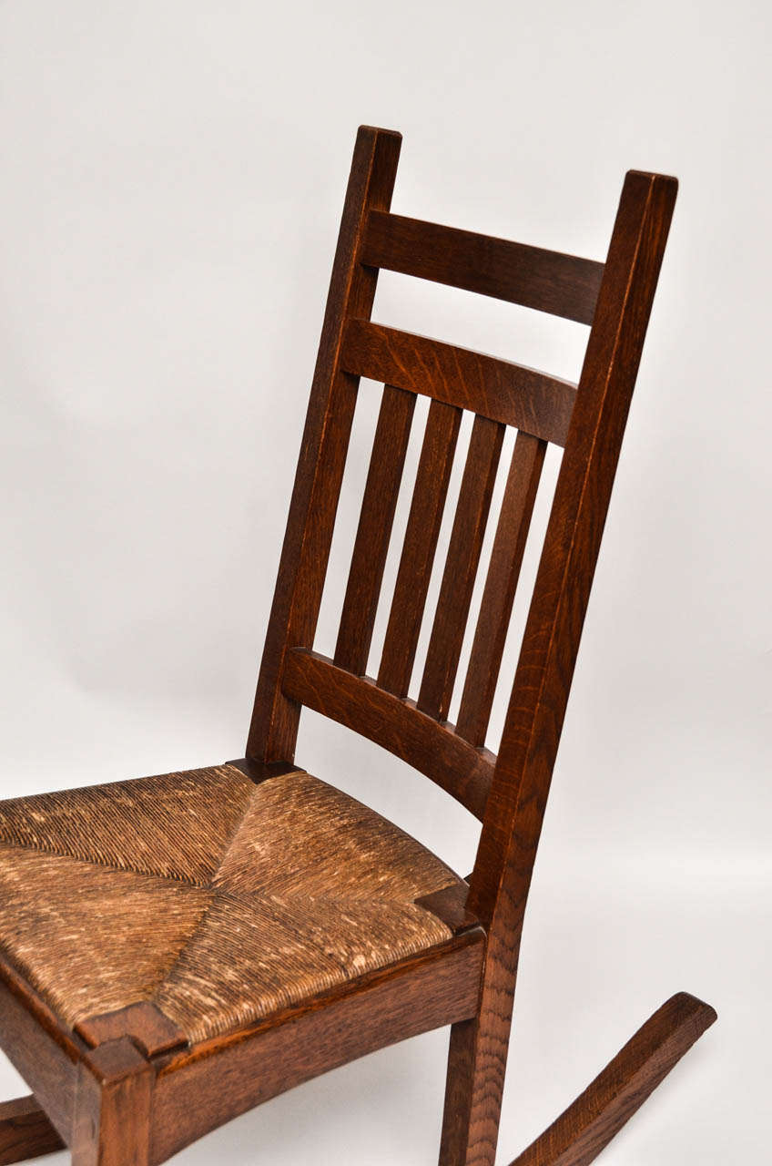 Michigan Chair Company Mission Oak Rocker with Original Rush Seat at ...